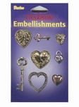 Embel Brass charm key to heart