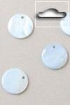 Buttons ass. 1 pk. a 10 st. blue round river shell dangles