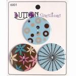 Button Sensations 3x Simple blue 3,4 cm