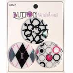Button Sensations 3x Black & White 3,4 cm