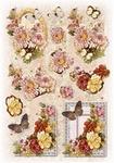 Glitter Decoupage bloem-vlinder nr.4
