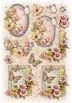Glitter Decoupage bloem-vlinder nr.3