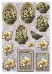 Glitter Decoupage bloemen-fruit nr.1