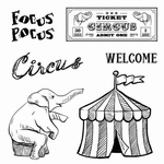 Set Of Clear Stamps 10,5x10,5 cm Vintage Circus Focus
